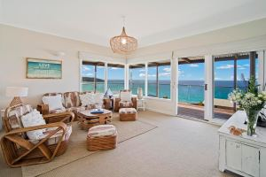 Living room with water views